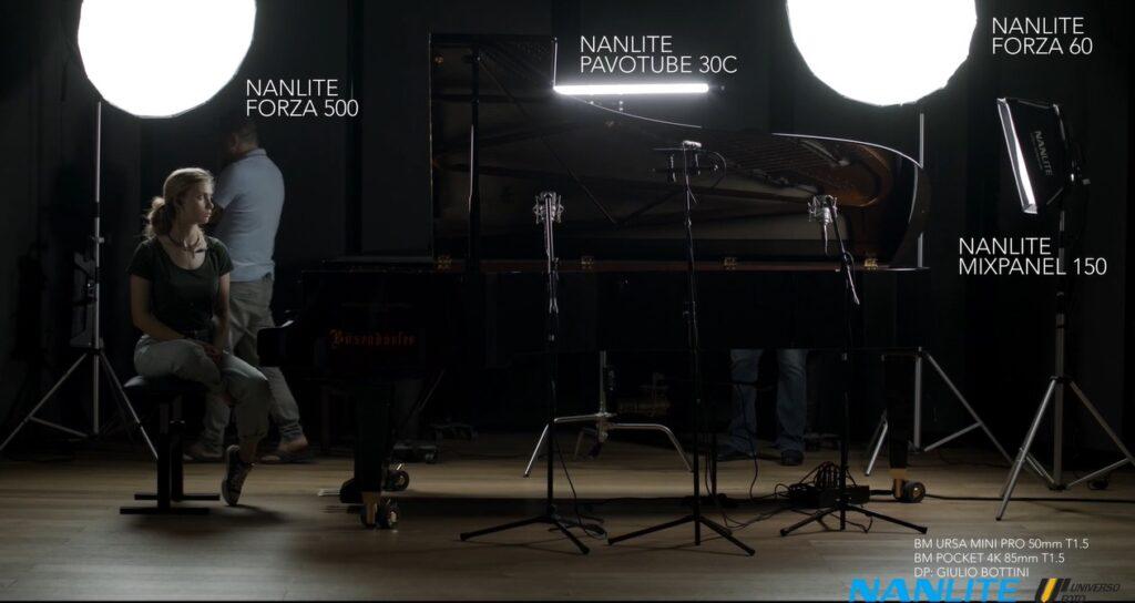 set-di-luci-nanlite-documentario-musica-classica